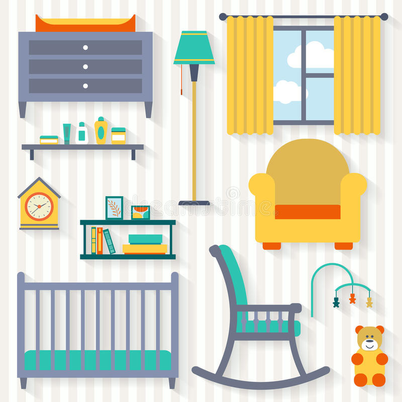 Baby room with furniture. Nursery interior. Flat style vector illustration vector illustration