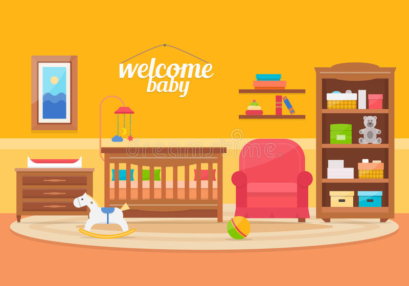 Baby room with furniture. Nursery and playroom interior. Flat style vector illustration vector illustration