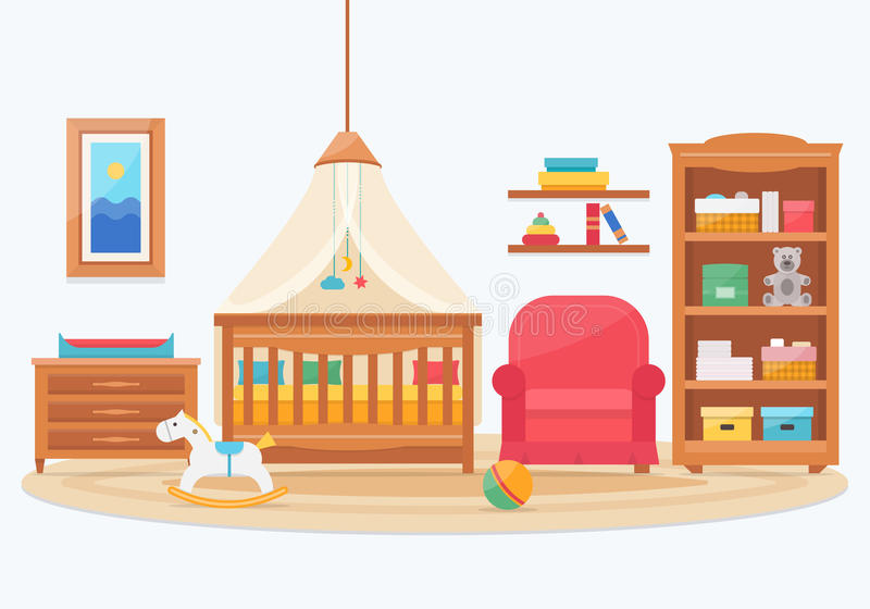 Baby room with furniture. Nursery and playroom interior. Flat style vector illustration stock illustration