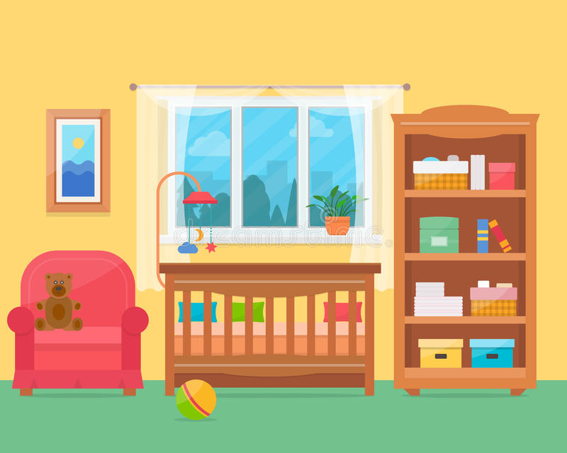 Baby room with furniture. Nursery and playroom interior. Flat style vector illustration royalty free illustration