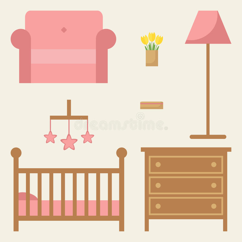 Baby room furniture set. Modern wooden furniture. Baby room furniture set. Modern wooden furniture: cot, chest of drawer, armchair. Furniture icons on stock illustration