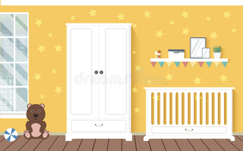 Baby room with furniture. Stylish interior. Flat style vector illustration. EPS10 royalty free illustration