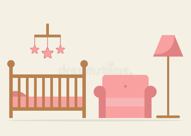Baby room interior design. Crib, armchair and lamp in blue colors. Wooden cot and other furniture. crib and armchair on background. Little baby girl room. Flat royalty free illustration