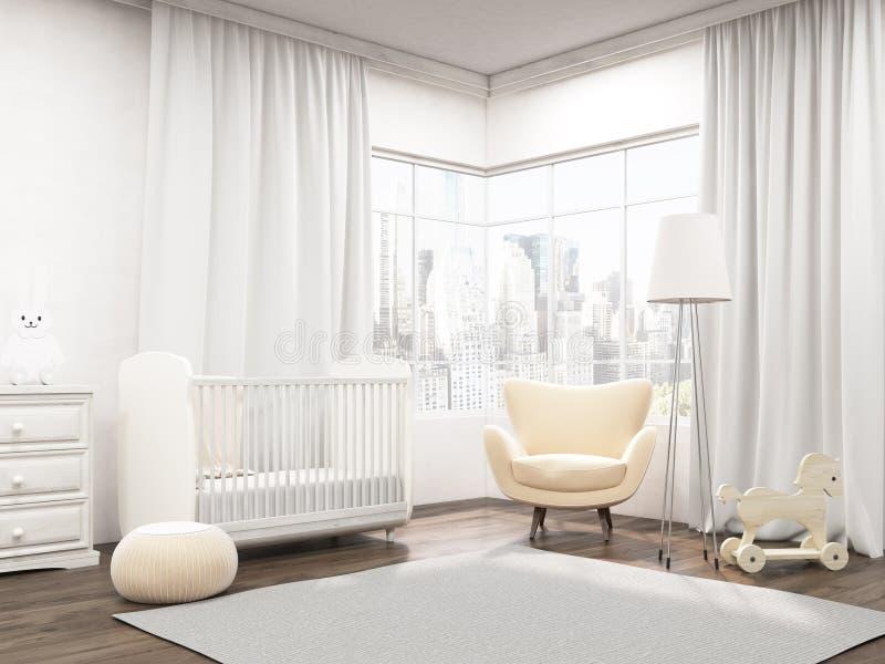 Baby room interior in New York apartment stock illustration