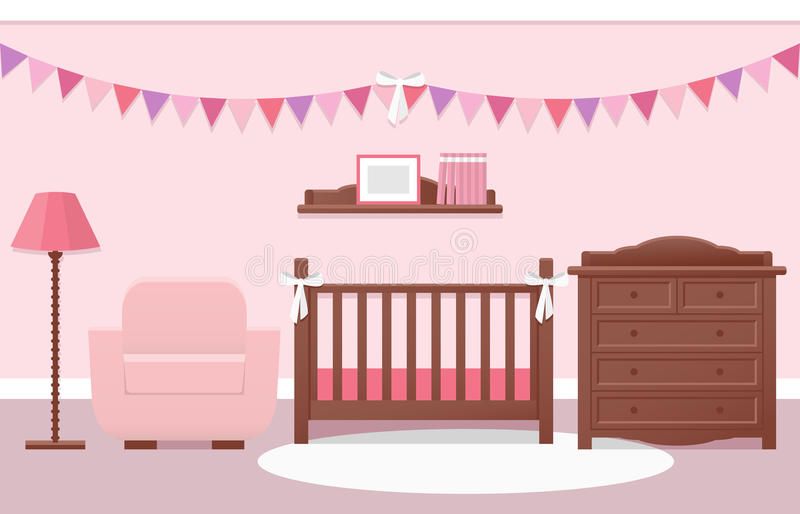 Baby room interior. Vector illustration. Baby room interior with white cot and changing table for girl in flat style. Modern pink nursery design. Vector vector illustration