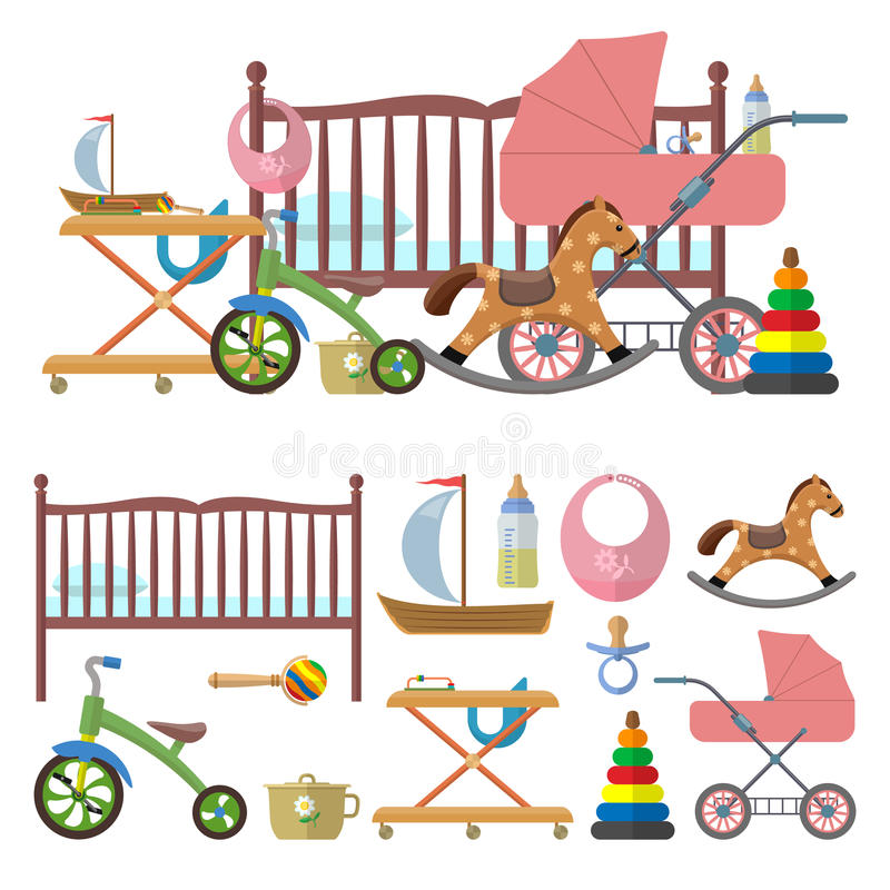 Baby room interior and vector set of toys for kids. Illustration in flat style. Isolated design elements, icons. Interior of baby room and vector set of toys stock illustration