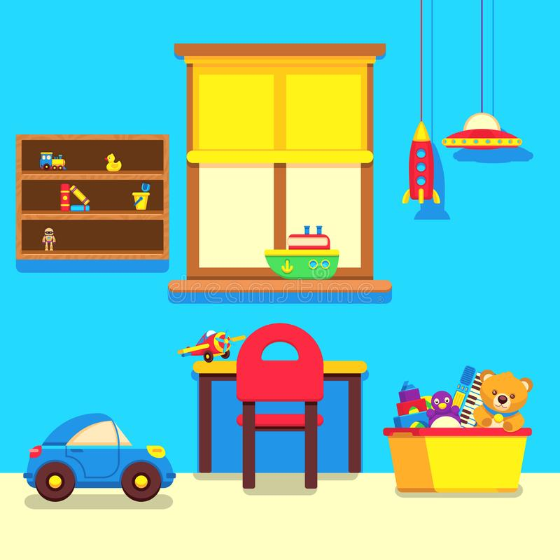 Baby room interior with window, work place and toys collection. Interior baby room with furniture and toys, vector illustration stock illustration