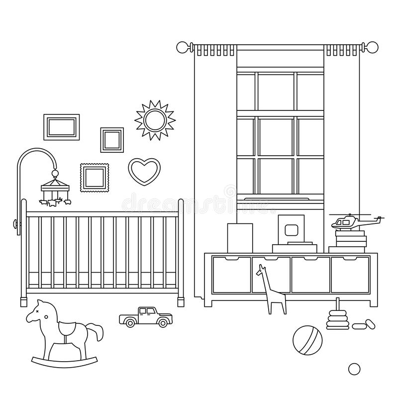 Baby room line interior. Vector outline illustration of nursery with furniture and toys royalty free illustration