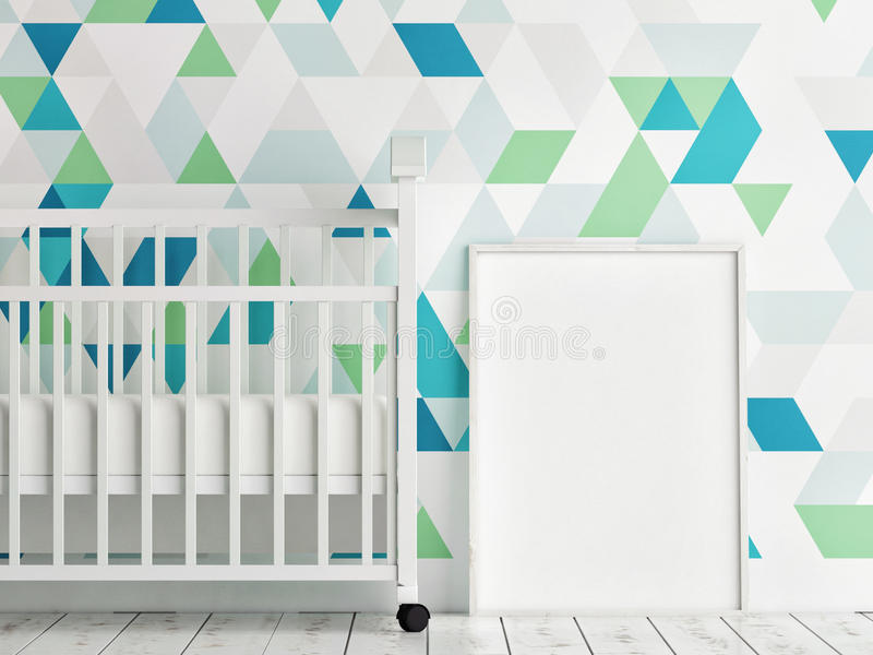 Baby room, mock up poster, triangle pattern wall. 3d render royalty free illustration
