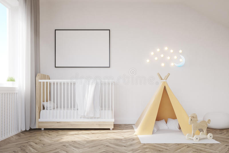 Baby room with a moon. Baby room interior with a crib, a tent, a poster and a moon. Concept of happy childhood. 3d rendering. Mock up royalty free illustration