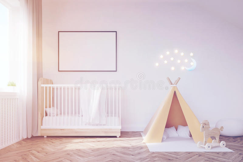Baby room with a moon, toned. Baby room interior with a crib, a tent, a poster and a moon. Concept of happy childhood. 3d rendering. Mock up. Toned image vector illustration