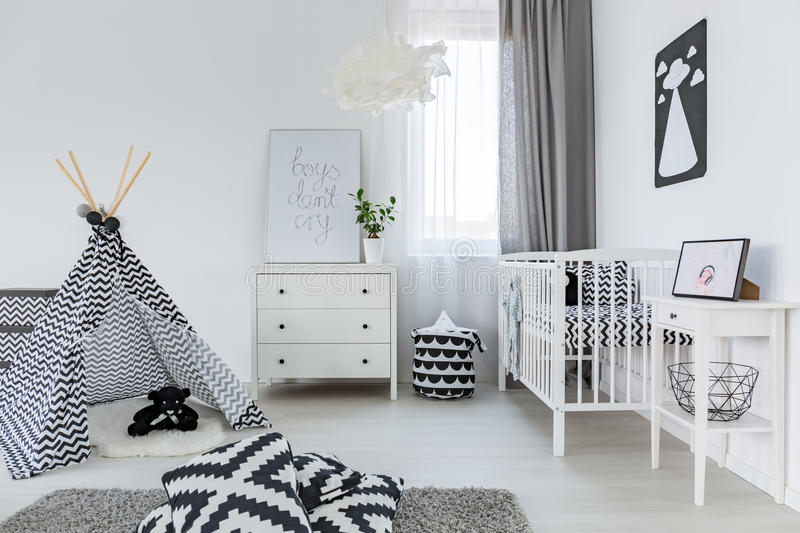 Baby room in nordic style. Bright baby room in nordic style with tipi royalty free stock photography