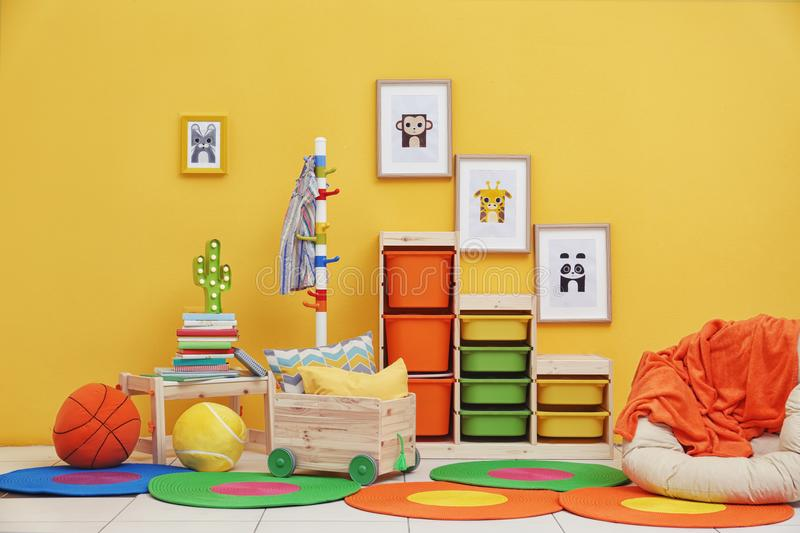 Baby room with pictures of animals stock photo