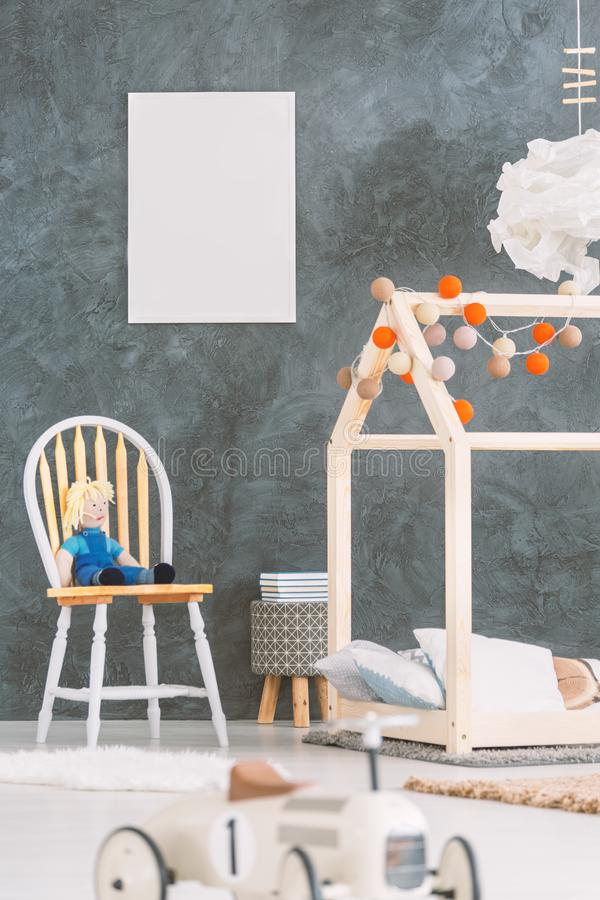 Baby room with a poster royalty free stock images