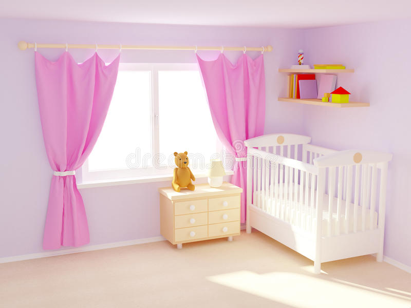 Baby room. Baby's bedroom with commode and bear. Pastel colors, empty room stock photography