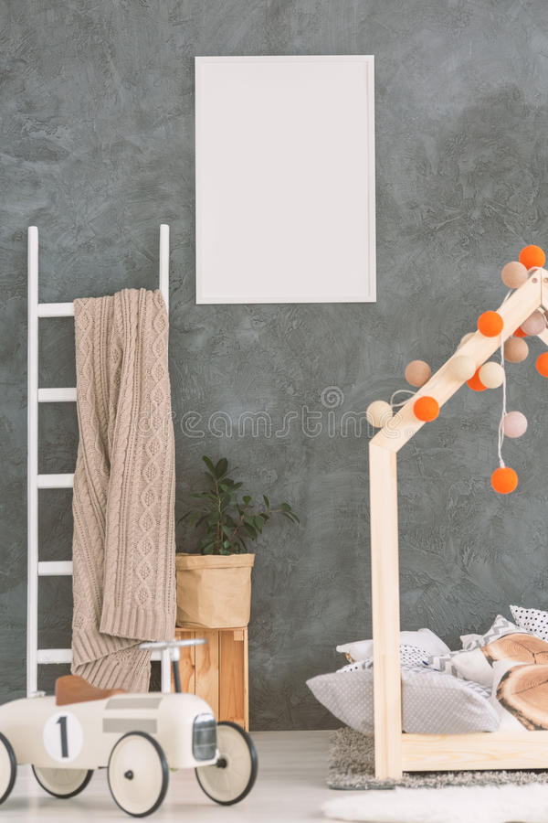 Baby room in scandi style stock image