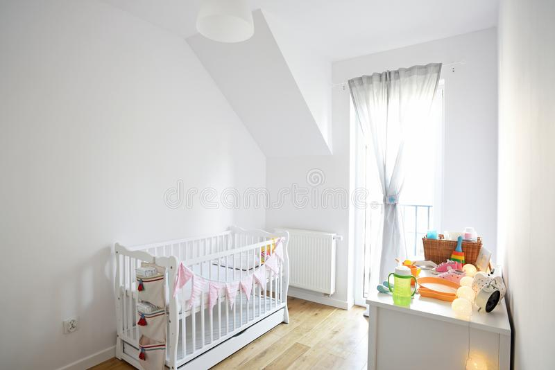 Baby room in scandinavian style royalty free stock image