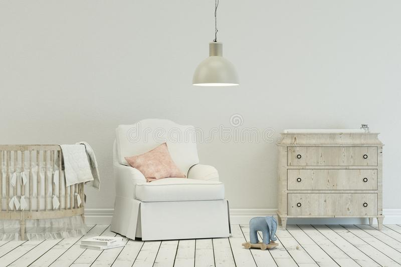 Baby room in scandinavian style. With reading chair and toys on the floor stock illustration