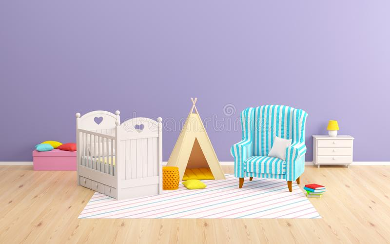 Baby room tipi and armchair royalty free illustration