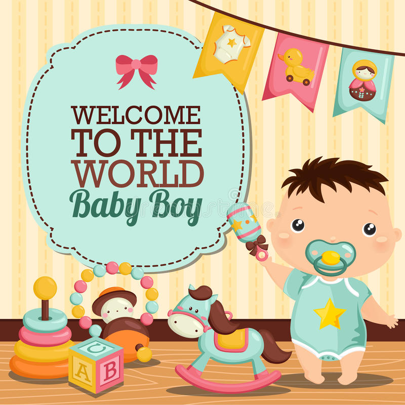 Baby Room. A Baby and Toys in his room stock illustration