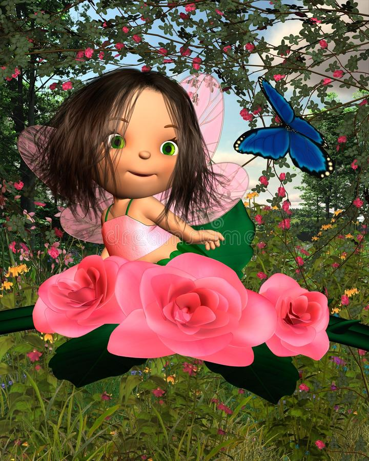 Baby Rose Fairy with Garden Background. Cute toon baby fairy sitting in a pink rose bush and looking at a blue butterfly with a sunny summer garden background stock illustration