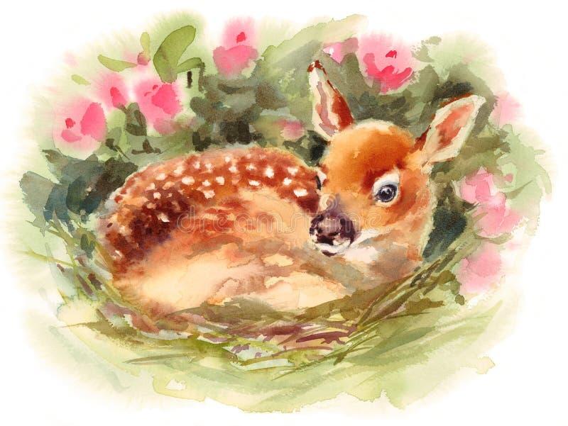 Baby-Rotwild umgeben durch Blumen Aquarell Fawn Animal Illustration Hand Painted lizenzfreie abbildung
