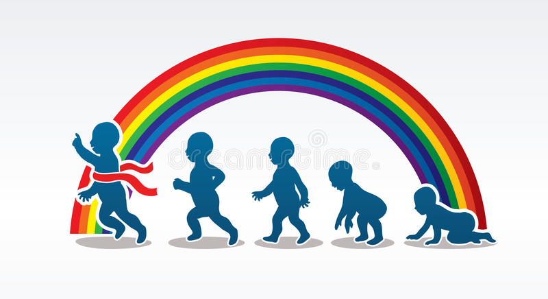 Baby running steps. Graphic vector royalty free illustration