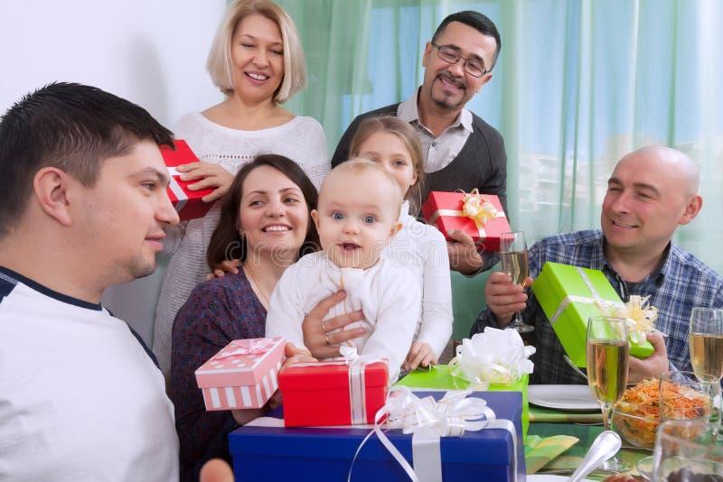 Baby`s birthday with big family royalty free stock photo