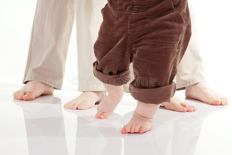 Baby's first steps royalty free stock photo