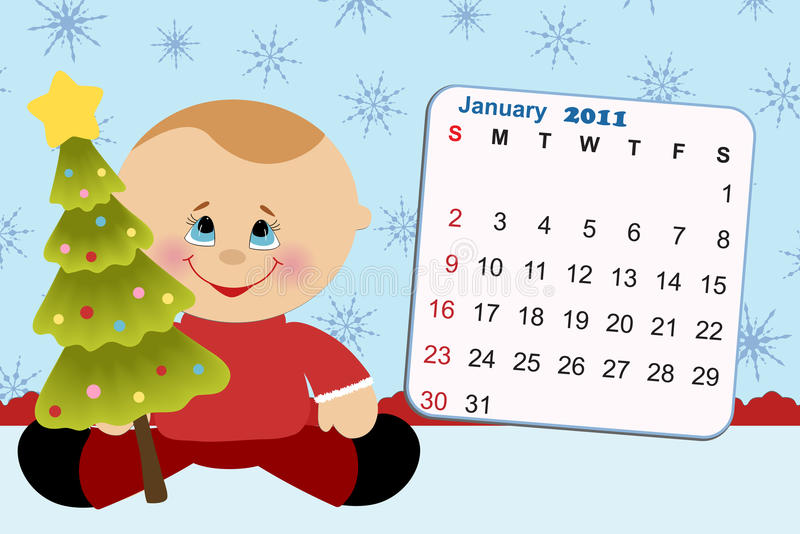Baby's monthly calendar for 2011. Baby's monthly calendar for january 2011 vector illustration