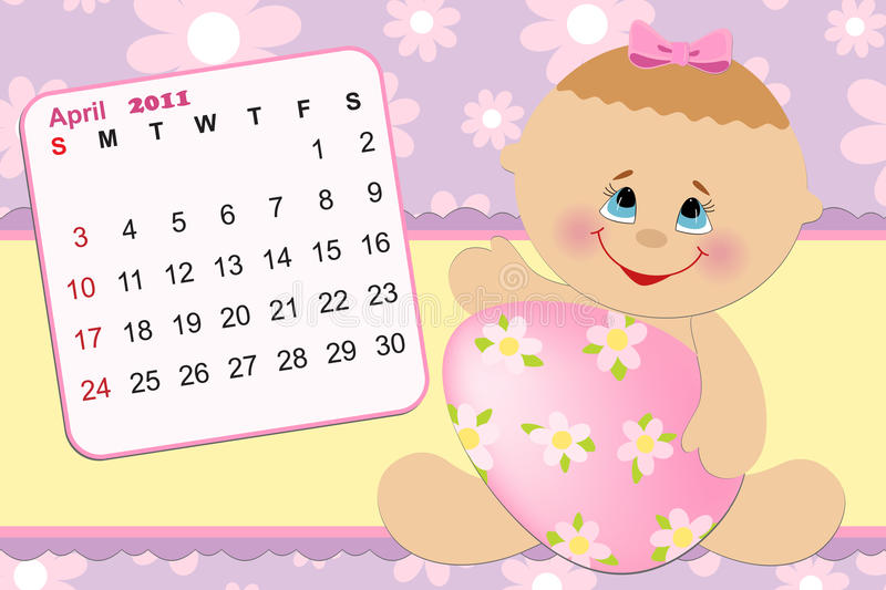 Download Baby's Monthly Calendar For 2011 Royalty Free Stock Images - Image: 15257929