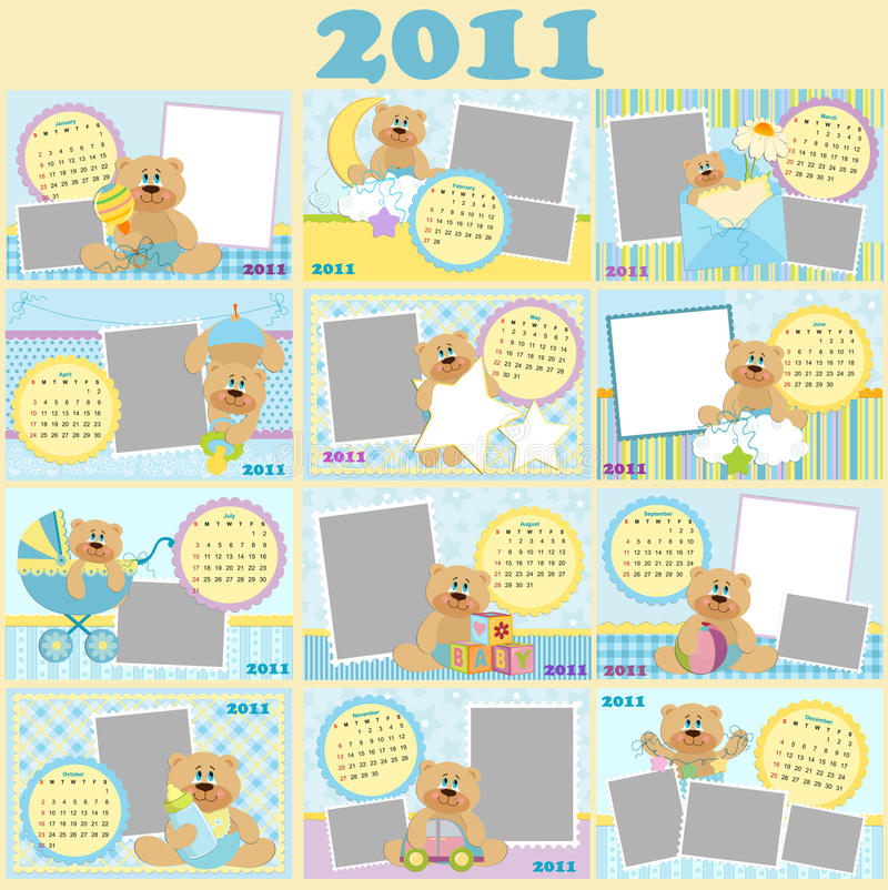 Download Baby's Monthly Calendar For 2011 Stock Vector - Image: 16684052
