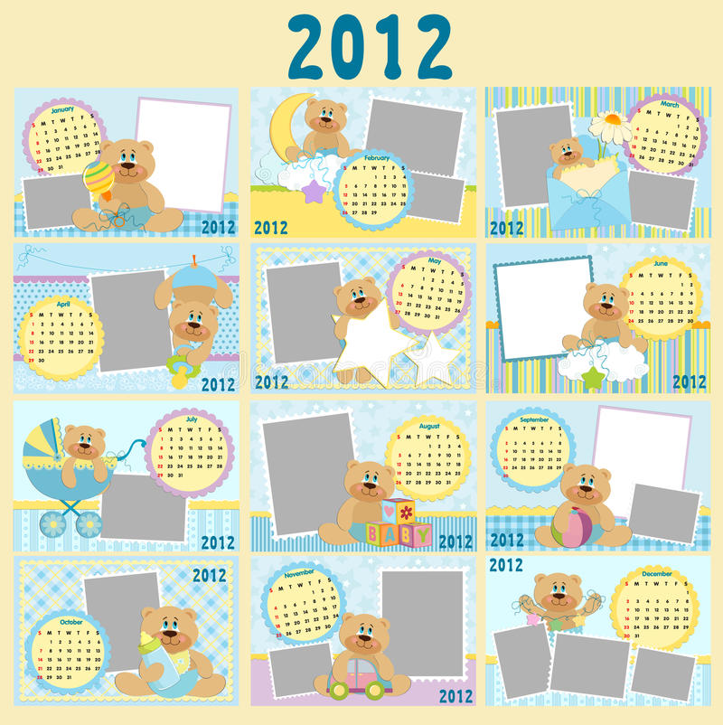 Download Baby's Monthly Calendar For 2012 Stock Vector - Image: 21086166