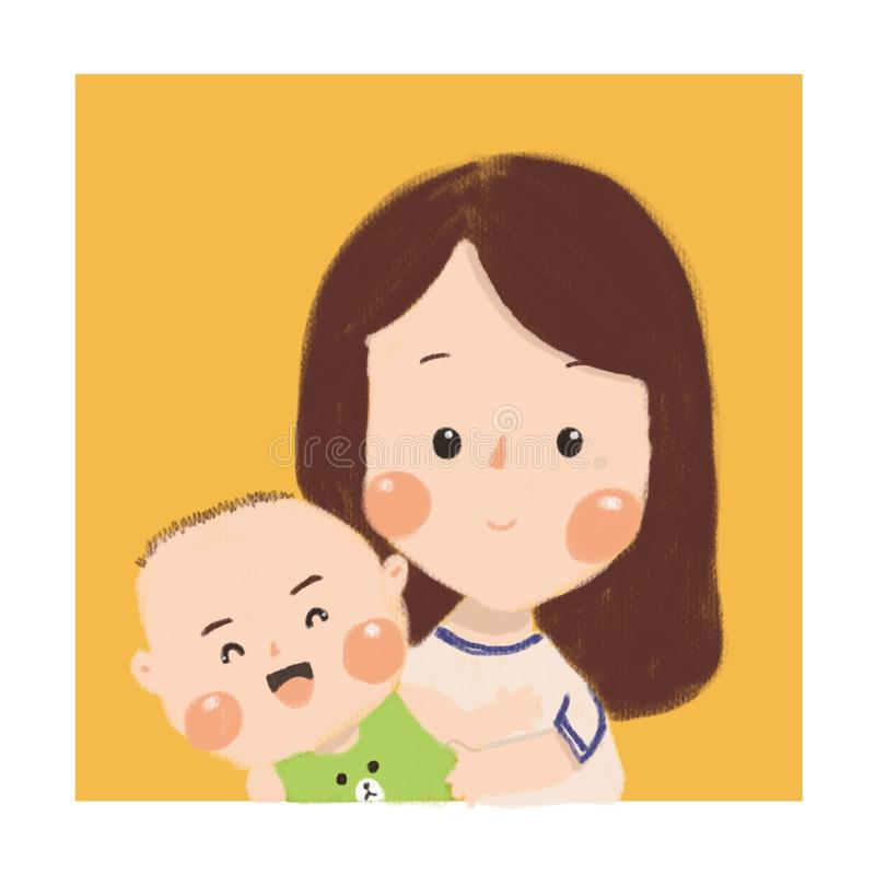 Mother`s baby is the best baby royalty free illustration