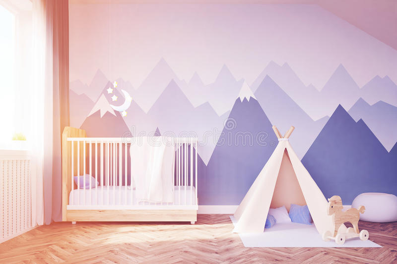 Baby`s room with a bed and tent, toned. Baby`s room. Bed, tent. 3d rendering. Toned image vector illustration