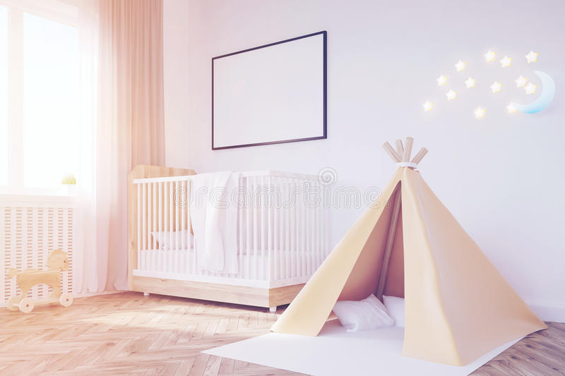 Baby`s room. Crib, tent, toned. Corner of baby`s room with a crib, a tent, a large window and two framed posters hanging on white walls. 3d rendering. Mock up royalty free illustration
