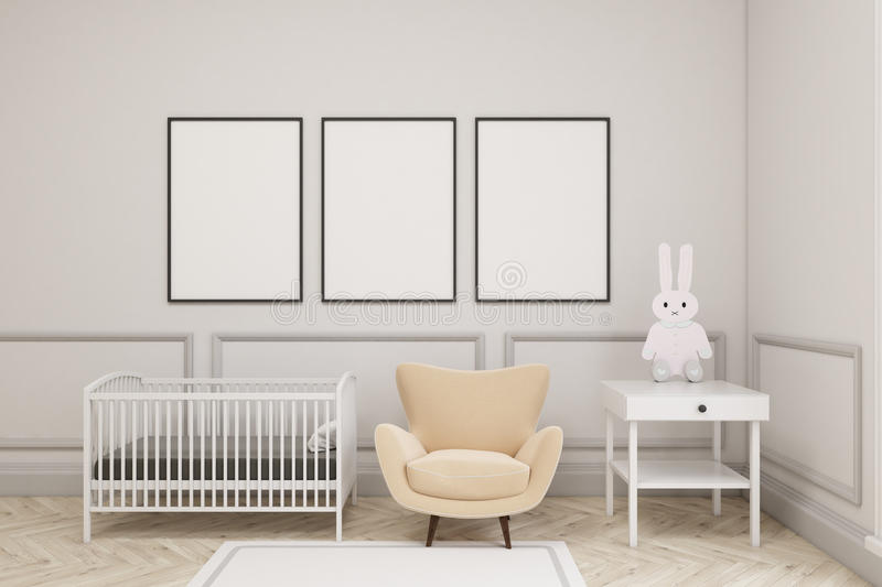 Baby`s room with a hare and three vertical posters. Baby`s room interior with a cradle, an armchair and a bedside table. There are three vertical framed posters vector illustration