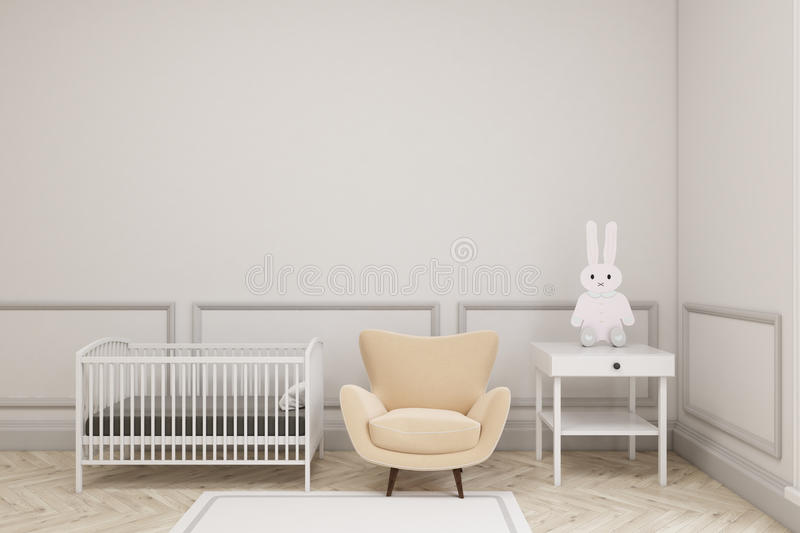 Baby`s room interior with a toy bunny. Baby`s room interior with a cradle, an armchair and a bedside table. There is a toy bunny on it. 3d rendering. Mock up royalty free illustration