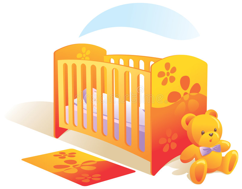 Baby's room, nursery, cot, to royalty free illustration