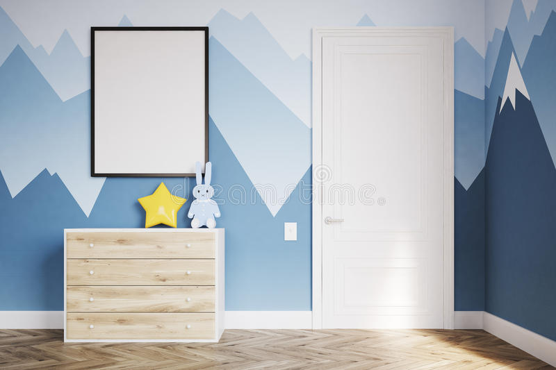 Baby`s room with a wardrobe. Baby room. Drawers. 3d rendering. Mock up vector illustration