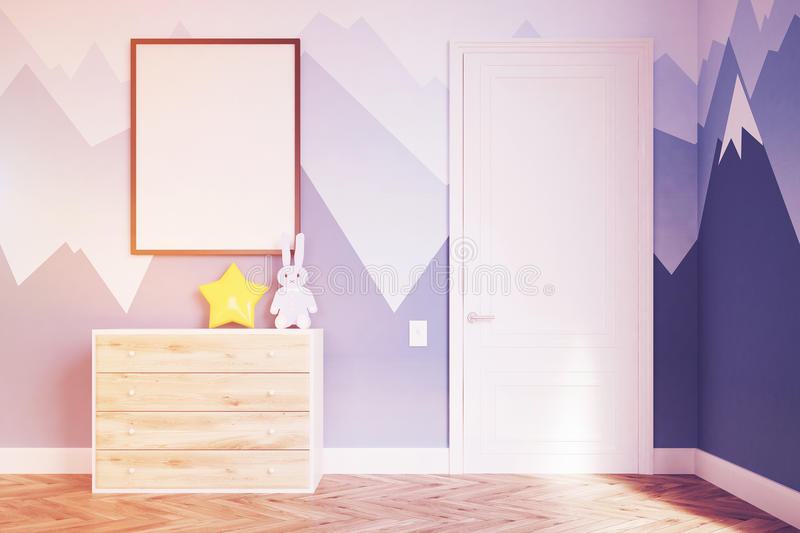 Baby`s room with a wardrobe, toned. Baby room. Box. 3d rendering. Mock up. Toned image vector illustration