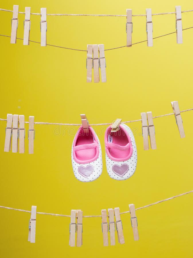 Baby's White-and-pink Polka-dot Shoes royalty free stock photos