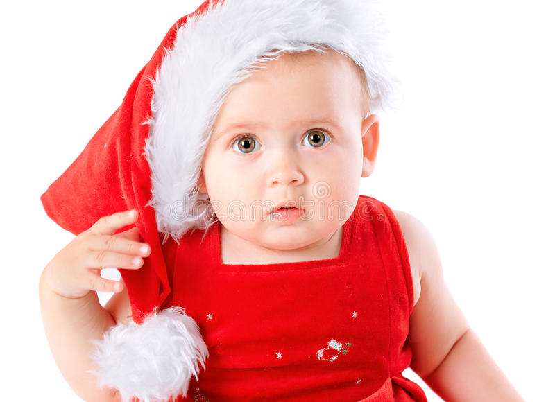 Baby in Santa Claus hat royalty free stock image