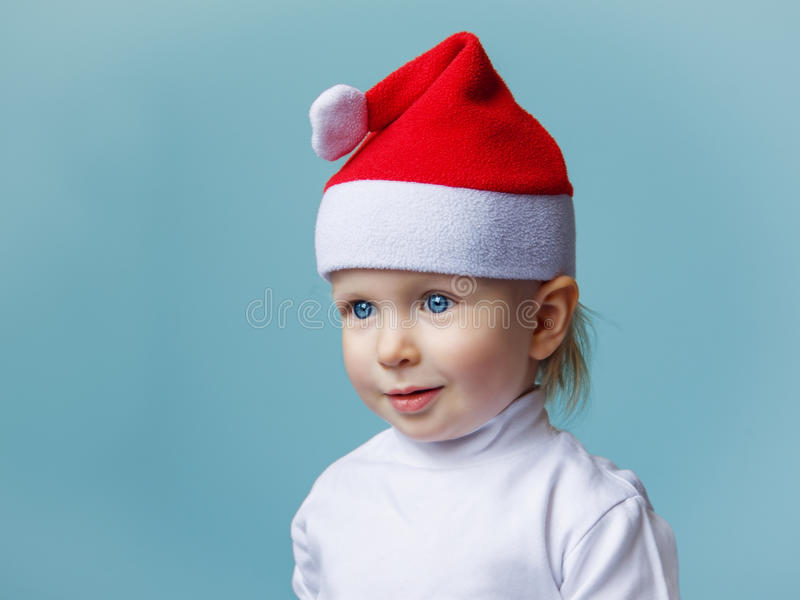 Baby in Santa hat New Year 2015 royalty free stock photo