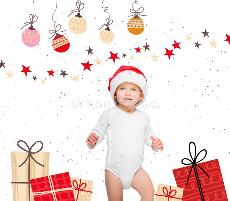 Baby in santa hat. Portrait of happy baby in santa hat and bodysuit isolated on white stock illustration