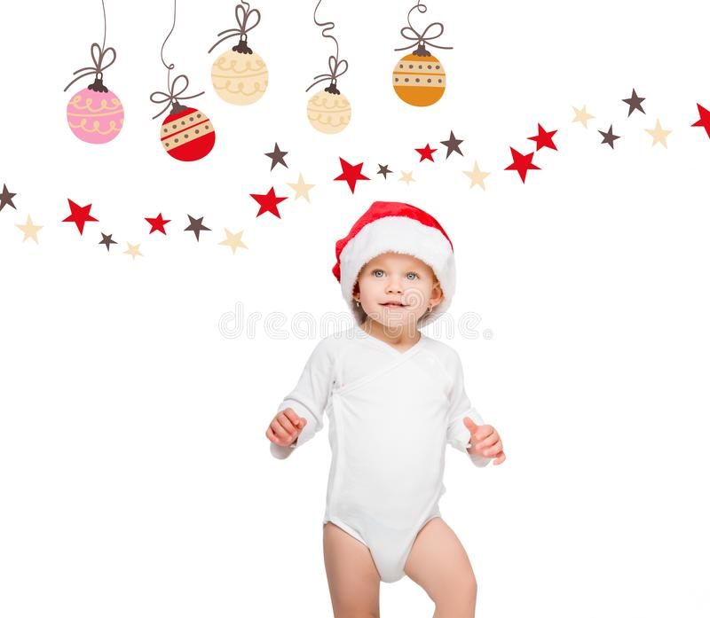 Baby in santa hat. Portrait of happy baby in santa hat and bodysuit isolated on white royalty free illustration