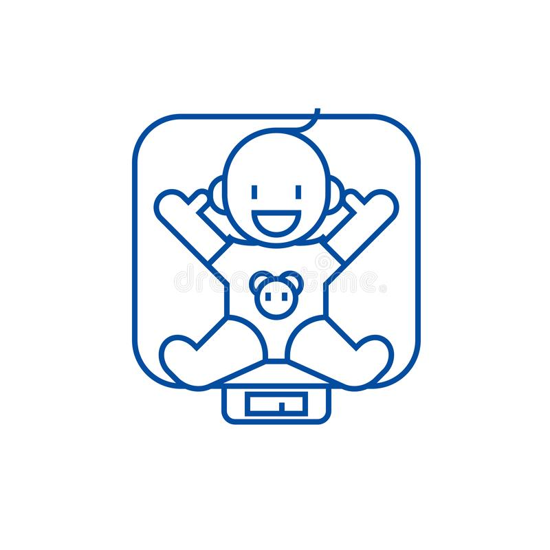 Baby On Scales Vector Line Icon  Sign  Illustration On
