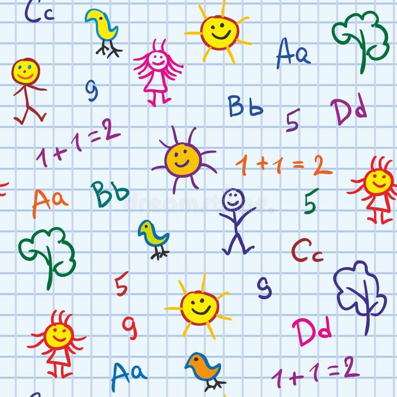 Baby school seamless vector illustration
