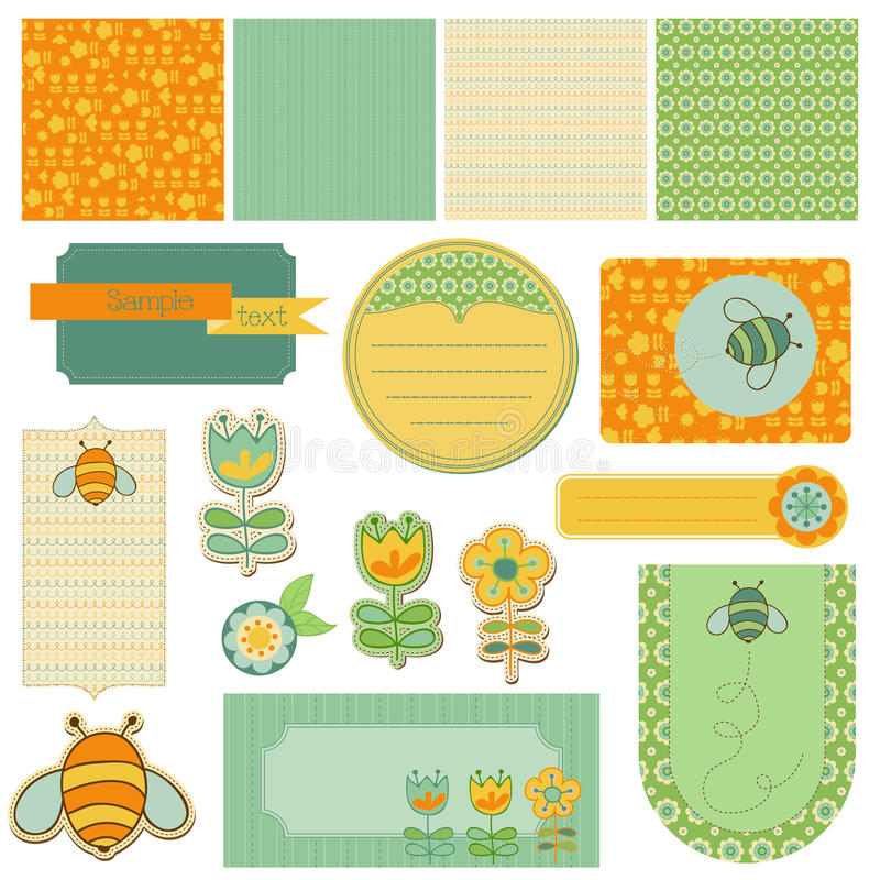 Download Baby Scrap with Bee stock vector. Image of decoration - 22204205
