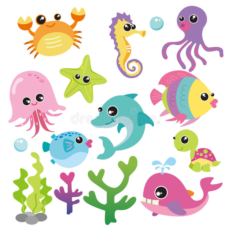 Baby Sea Creatures stock illustration